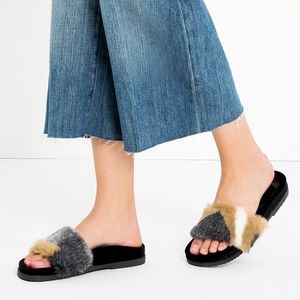 Zara Black Neutral Velvet Faux Fur Slide Sandals